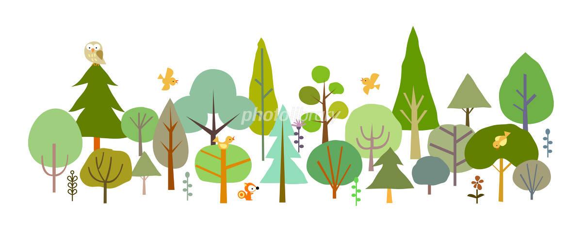 森 動物 木 緑 イラスト イラスト素材 1381224 フォトライブラリー