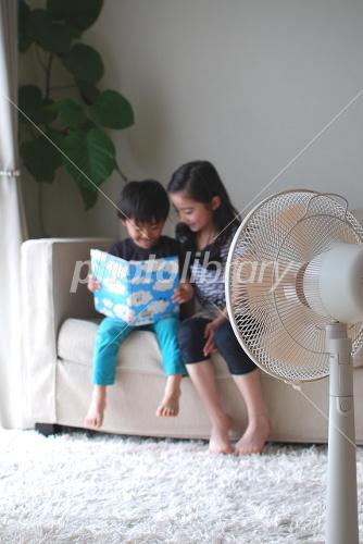 Reading in the fan Photo