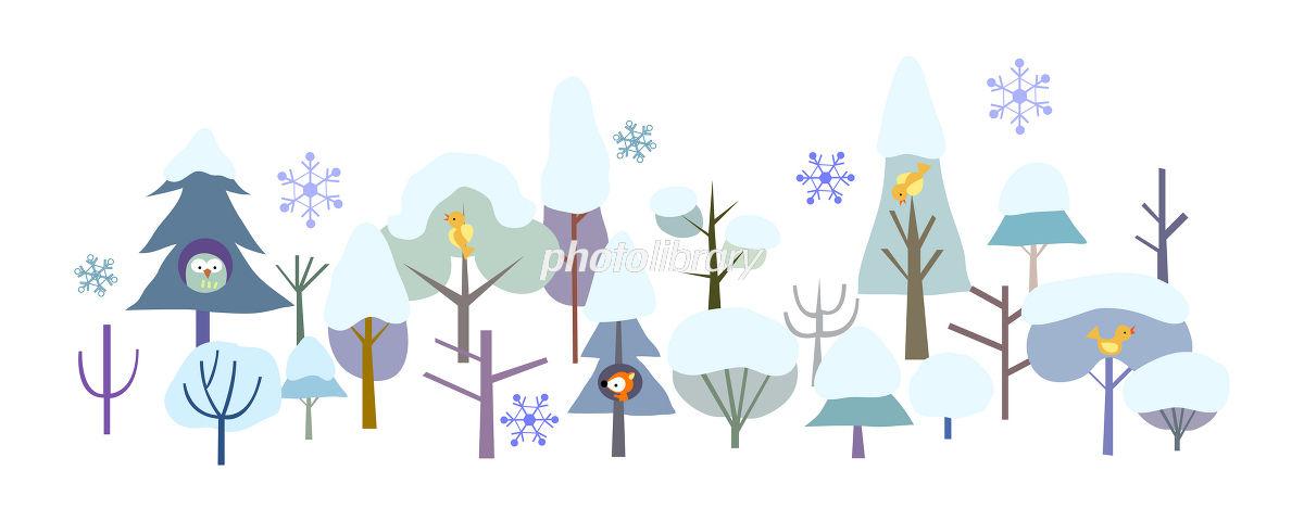 森 動物 木 雪 冬 イラスト イラスト素材 1385144 フォトライブ