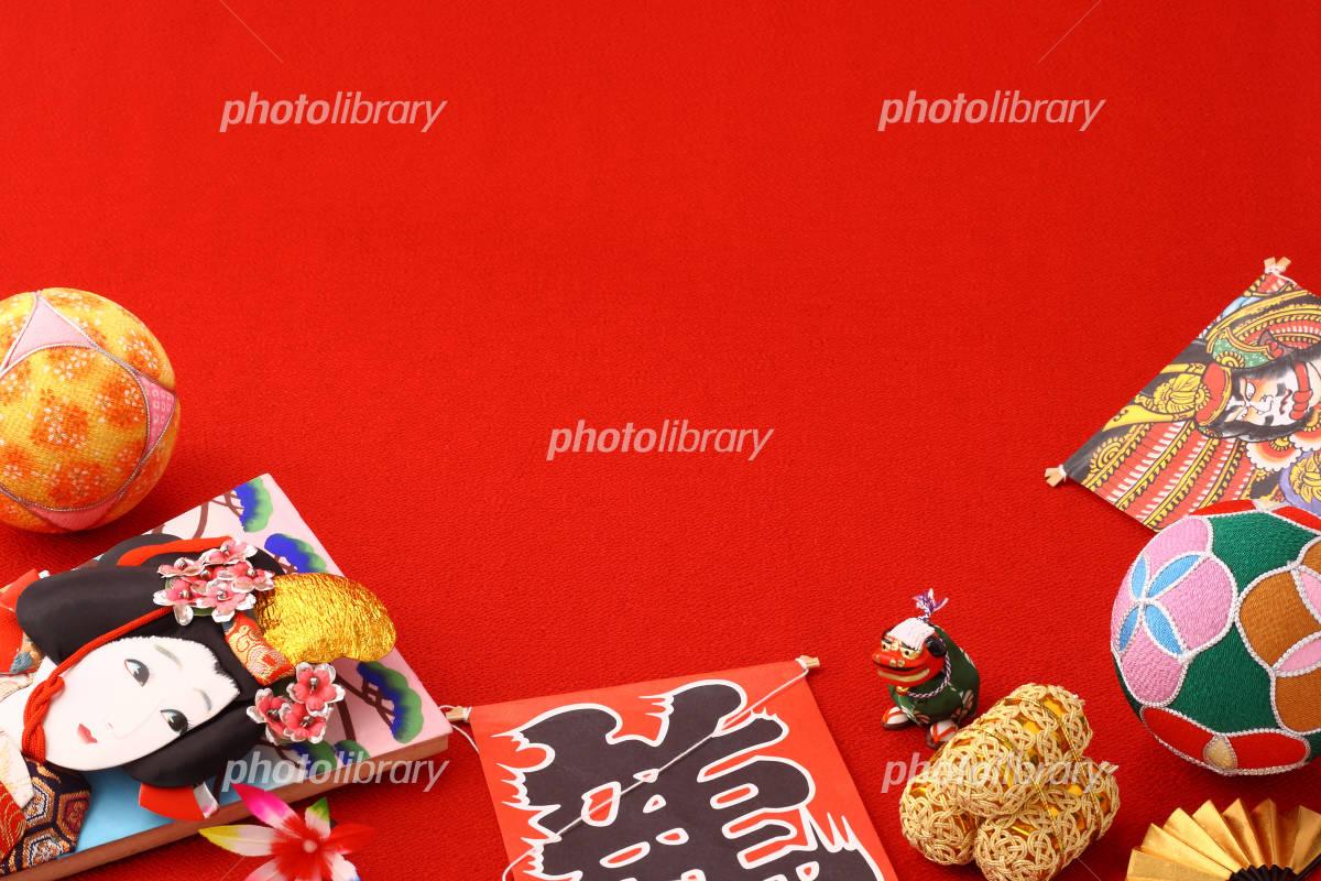 お正月縁起物飾り 羽子板と毬と凧