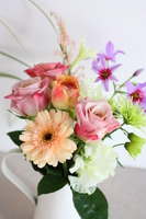 Gerbera and Roses Flower Arrangement Stock photo [1584058] Gerbera