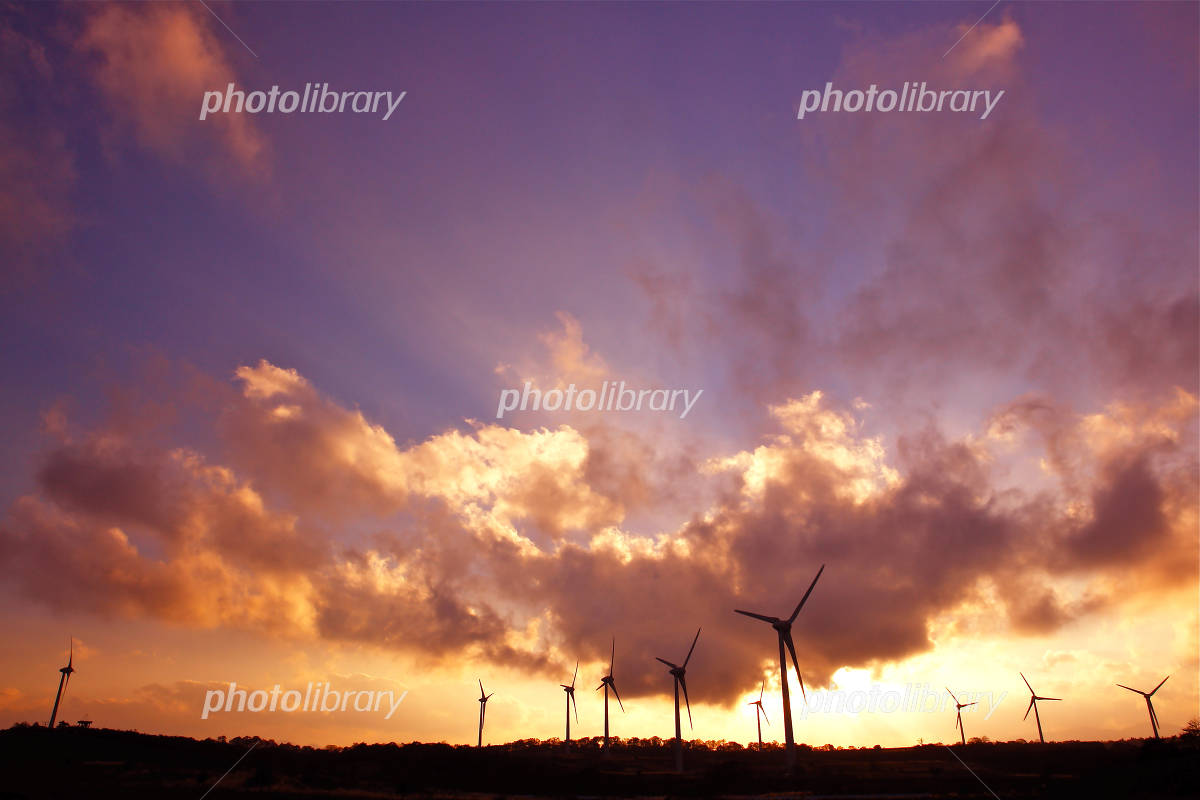 Fukushima Prefecture Nunobiki Plateau Wind Power Magic Hour Photo