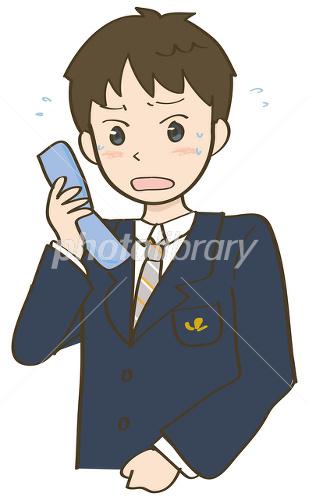 携帯電話を見てあせる学生 イラスト素材 1679262 無料 フォト