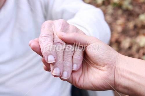 シニアの手をとる 秋 写真素材 1684560 フォトライブラリー