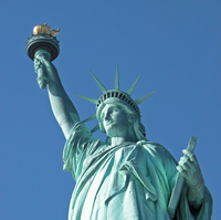 Statue of Liberty upper body stock photo