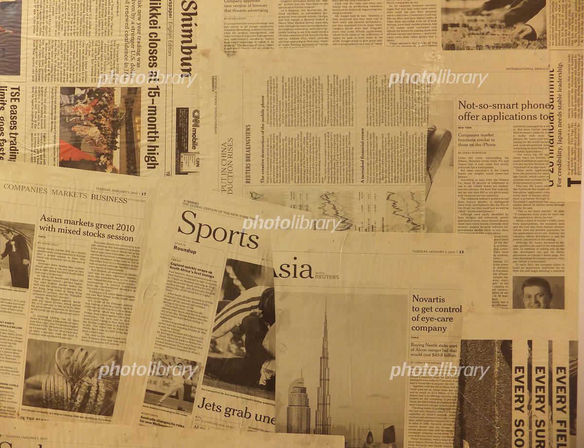 英字新聞の壁の写真