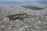 Aerial of Kyoto panoramic view stock photo