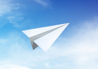 Paper airplane flying blue sky [1967592] Paper