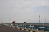 Road and wind power generation that follows from Urumqi to Turpan Stock photo [1969229] Urumqi