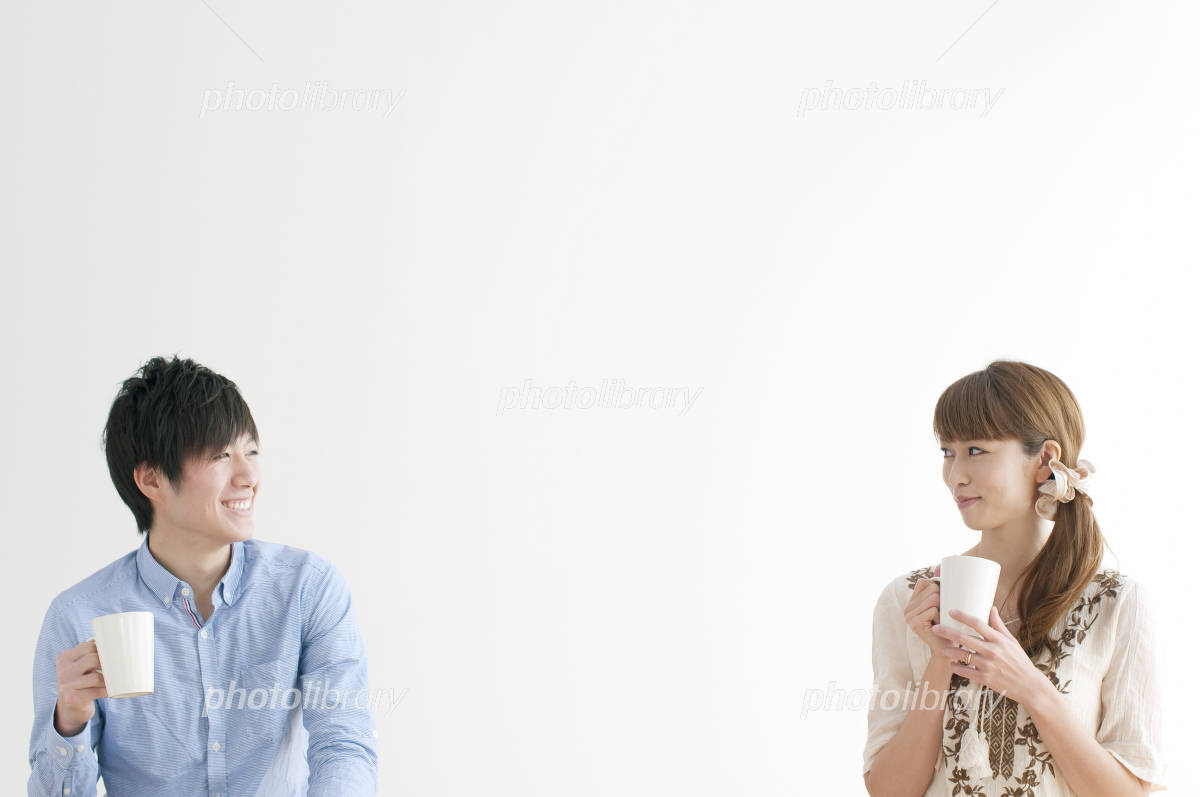 Couple of portrait drink coffee Photo