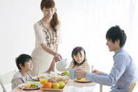 Breakfast landscape of a family of four Stock photo [2077138] Person