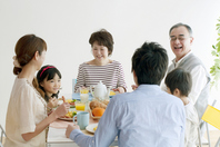 Of 3 generation family breakfast landscape Stock photo [2077140] Person