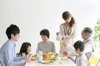 Of 3 generation family breakfast landscape Stock photo [2077148] Person