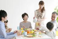 Of 3 generation family breakfast landscape Stock photo [2077151] Person