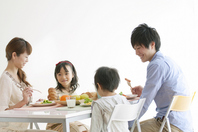 Breakfast landscape of a family of four Stock photo [2077261] Person
