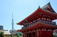 Sensoji Temple and Tokyo Sky Tree stock photo