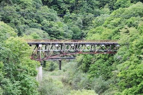 幾春別川に架かる旧桂橋の写真素材