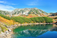 Chestnut autumn leaves only a pond and Murodo Tateyama Stock photo [2176203] Autumn