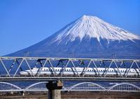 Shinkansen and Mount Fuji stock photo