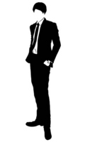 Silhouette of men suits stock photo
