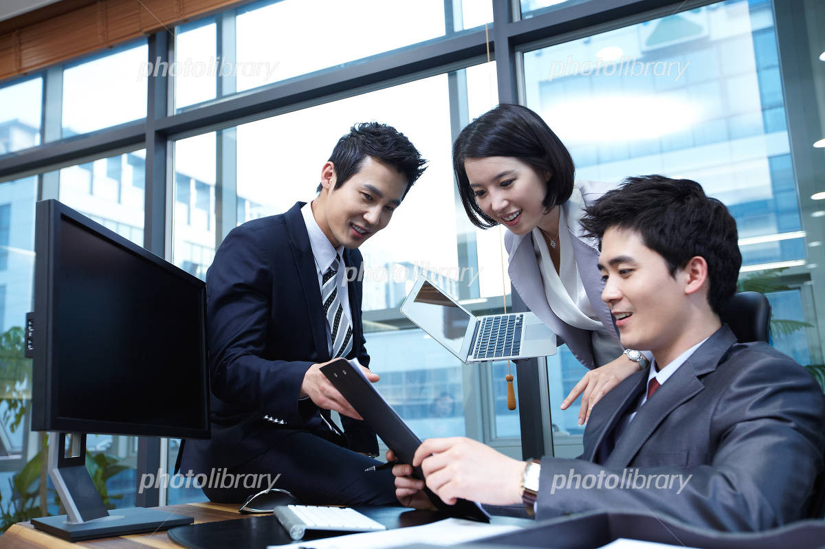 Men and women who work office image Photo