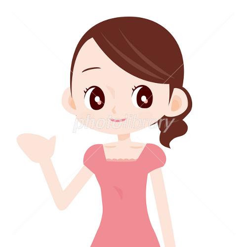ピンクのワンピースを着た可愛い女性 案内 イラスト素材 2438622