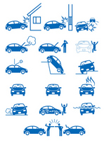 Pictogram of trouble, such as car accidents, property damage or failure [2430327] Accident