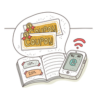 Coupon shopping illustrations [2434360] Icon