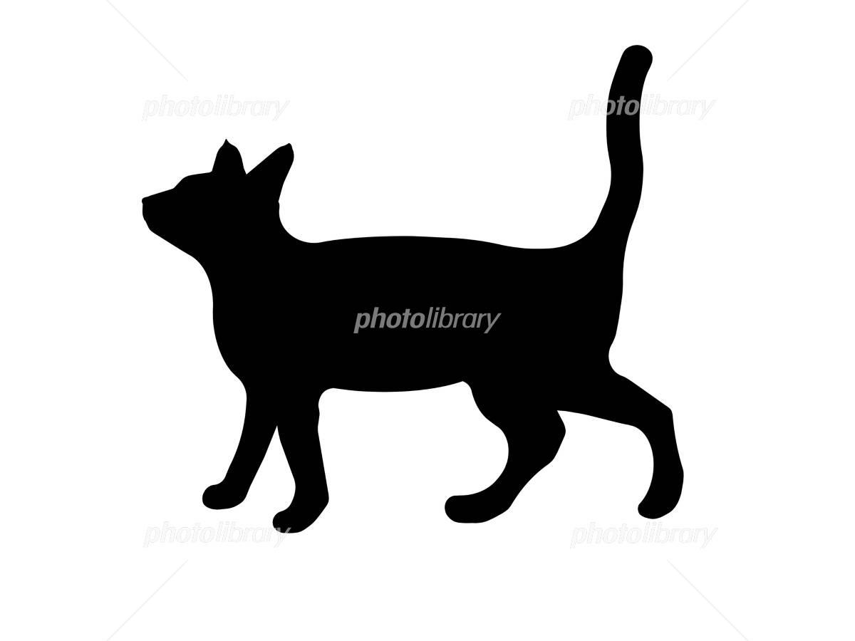 猫 イラスト 白黒 モノクロ 無色 影絵 白背景 イラスト素材 フォトライブラリー Photolibrary