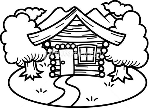 山の中のログハウス モノクロ イラスト素材 2547598 フォトライブ