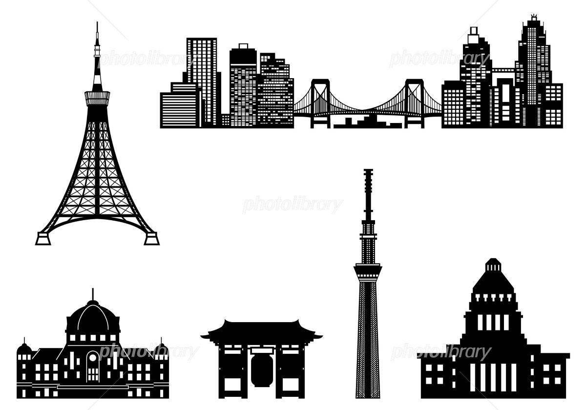 Tokyo tourism silhouette イラスト素材