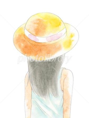 麦わら帽子の女性の後ろ姿 イラスト素材 2668329 フォトライブ