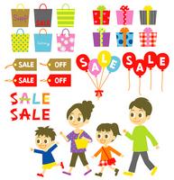 Family shopping illustration material set [2660269] Family