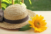 Straw hat and sunflower Stock photo [2661939] Straw