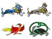 Yonkami-juu illustrations of Four