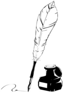 Feather pen and ink black and white illustrations of stock photo