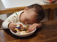 Child to sleep in the middle of rice Stock photo [2834024] Hayashi