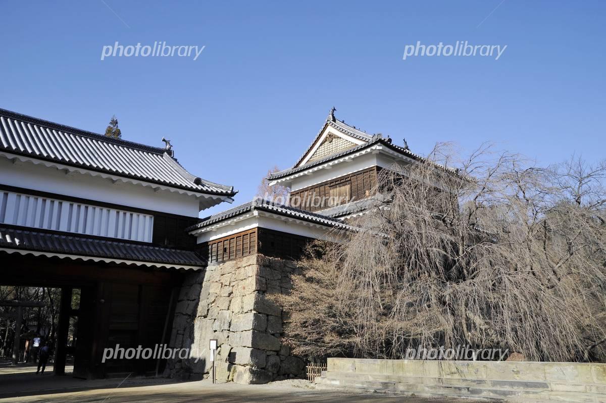 上田城本丸南櫓と東虎口櫓門の写真素材