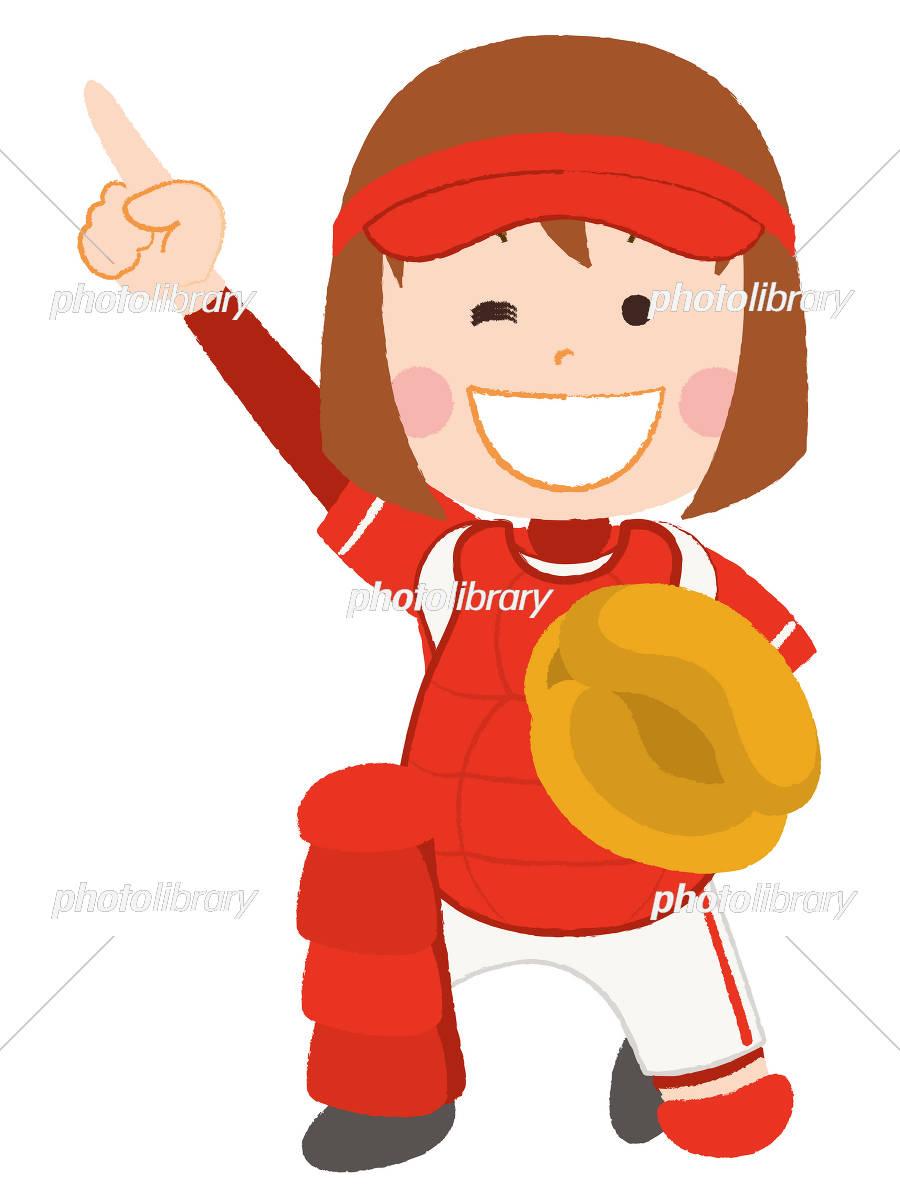 ソフトボール キャッチャー 女性 イラスト素材 3003114 フォト