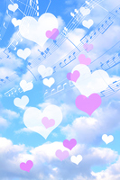 Fluffy clouds and pink heart and music (synthetic) Stock photo [3001820] Hart