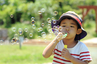 Infant to a soap bubble (4 year olds) Stock photo [3177626] Infant
