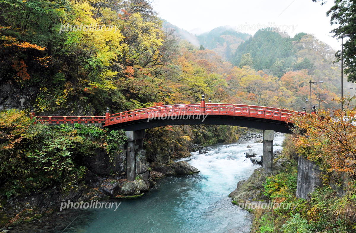 World Heritage Futarasan jinja Shinkyo with autumn leaves Photo