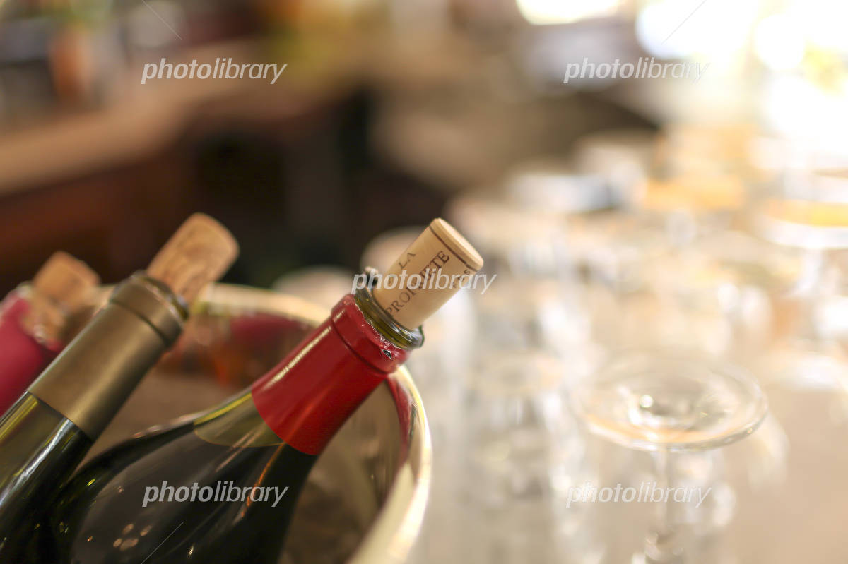 Paris cafes, wine bottle image Photo