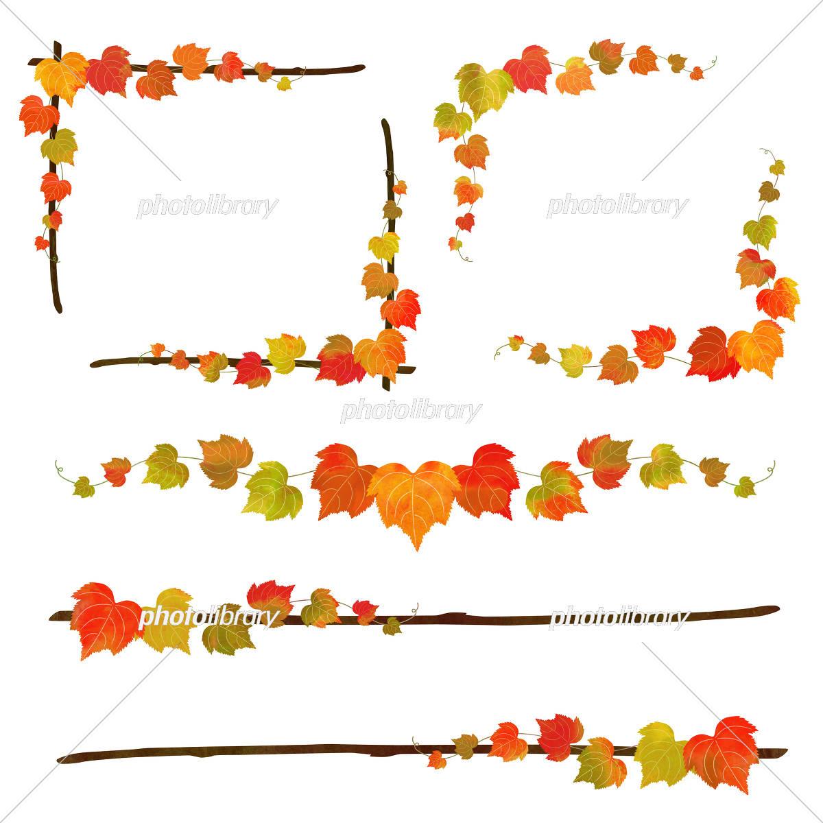 秋の蔦と枝のフレーム イラスト素材 3291046 フォトライブ