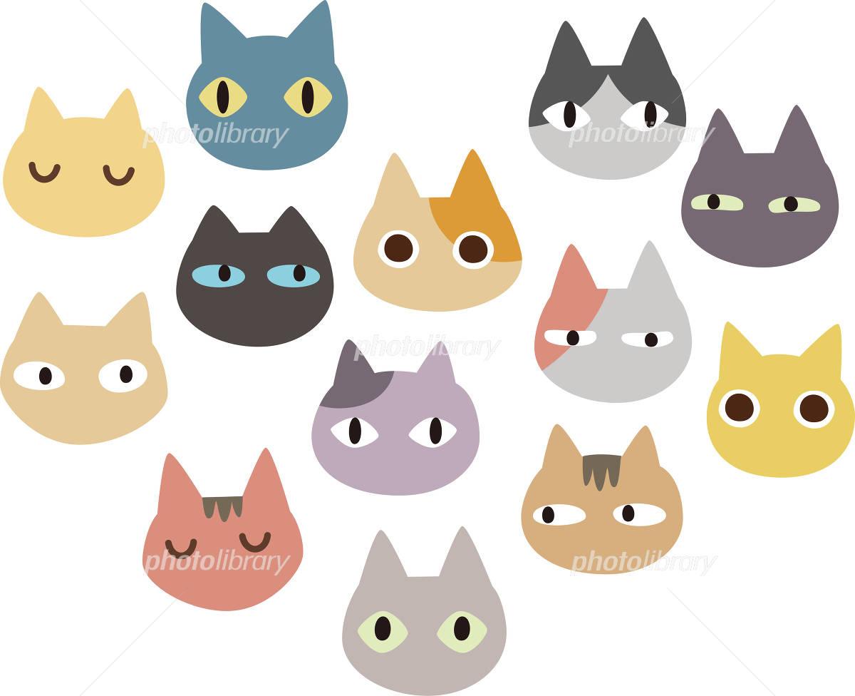 たくさんの猫の顔 イラスト素材 3382290 フォトライブラリー