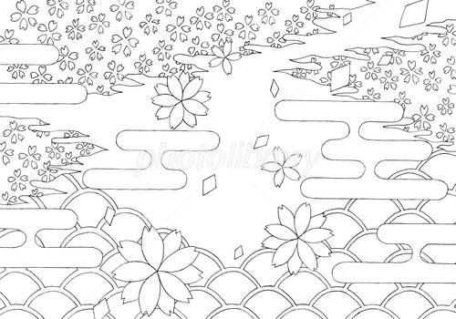 塗り絵 春 桜花
