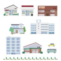 Shops school real estate illustrations [3909386] Map