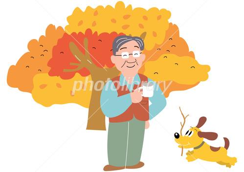 秋のキャンプでコーヒーカップを持つお父さんと薪を集める犬 イラスト