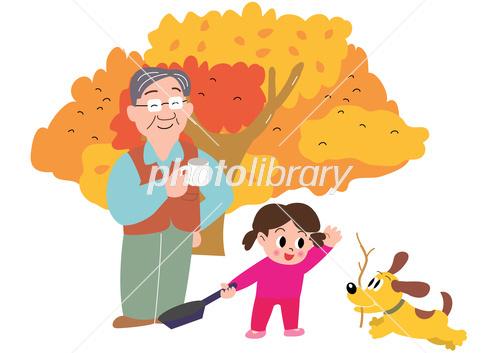 秋のキャンプでお父さんと女の子と犬 イラスト素材 3993167 フォト