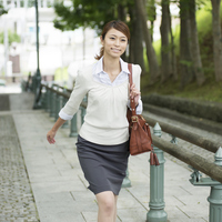 Businesswoman walking a slope Stock photo [3986928] A